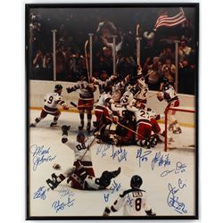 1980 Miracle On Ice 16.5x20.5 Framed Photo Team-Signed by (13) with Buzz Schneider, Bill Baker, Mark