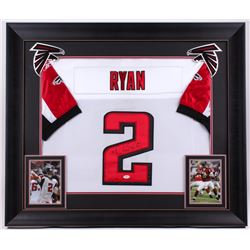 Matt Ryan Signed Falcons 31x36 Custom Framed Jersey (JSA COA)