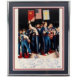 1980 Miracle On Ice LE 20x24 Framed Photo Team-Signed by (20) with Mike Eruzione, Buzz Schneider, Bi