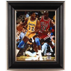Magic Johnson Signed Lakers 11x13 Custom Framed Photo Display (PSA COA  Johnson Hologram)