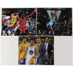 Lot of (3) Signed 8x10 Basketball Photos with (1) Frank Kaminsky Hornets, (1) Steve Kerr Golden Stat