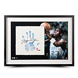 "Micahel Jordan Signed North Carolina Tar Heels ""Tegata"" 20"" x 28 LE Custom Framed Hand-Stamped Caree"