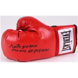 "Roberto Duran Signed Everlast Boxing Glove Inscribed ""Manos de Piedra"" (Beckett COA)"