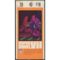 1973 Super Bowl VII Vintage Ticket Stub