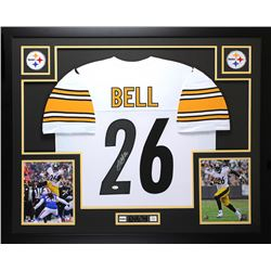Le'Veon Bell Signed Steelers 35  x 43  Custom Framed Jersey (JSA COA)