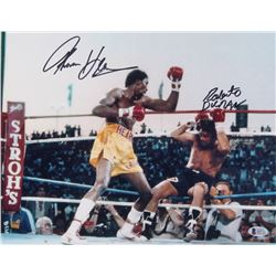 Tommy Hearns  Roberto Duran Signed 11x14 Photo (Beckett COA)