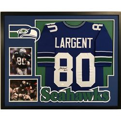 "Steve Largent Signed Seahawks 34"" x 42"" Custom Framed Jersey Display Inscribed ""HOF '95"" (JSA COA)"