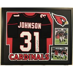 "David Johnson Signed Cardinals 34"" x 42"" Custom Framed Jersey Display (JSA COA)"