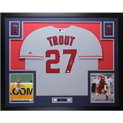 Mike Trout Signed Angels 35x43 Custom Framed Jersey (MLB)