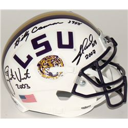 Billy Cannon, Jacob Hester  Justin Vincent Signed LSU Mini-Helmet With National Championship Year In