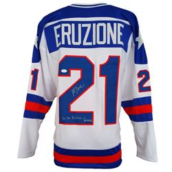"Mike Eruzione Signed 1980 Team USA ""Miracle on Ice"" Jersey Inscribed ""Do You Believe In Miracles"" (J"