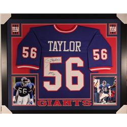 "Lawrence Taylor Signed Giants 35x43 Custom Framed Jersey Inscribed ""HOF '99"" (JSA COA)"