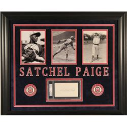 Satchel Paige Signed Monarchs 24x28 Custom Framed Cut Display (PSA Encapsulated)