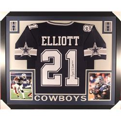 Ezekiel Elliott Signed Cowboys 44x36 Custom Framed Jersey (JSA COA)