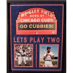 "Ernie Banks Signed Cubs 25x31 Custom Framed Shadowbox Display Inscribed ""H.O.F. 77"" (PSA)"