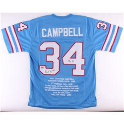 "Earl Campbell Signed Oilers Career Highlight Stat Jersey Inscribed ""HOF 91"" (Radtke COA)"