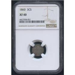 1860 Three-Cent Silver US Coin (NGC XF 40)