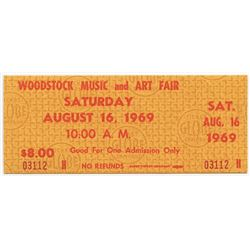 Woodstock Authentic Unused Ticket from Saturday August 16, 1969