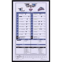 Scranton / Wilkes-Barre RailRiders Game-Used Official Batting Line-Up Card from 7/16/2015