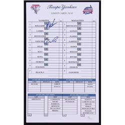 Gary Sanchez  Mason Williams Tampa Yankees Game-Used Official Batting Line-Up Card from 5/9/2013 (JS