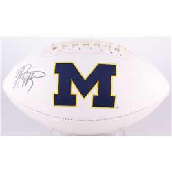 Jabrill Peppers Signed Michigan Wolverines Logo Football (JSA COA)