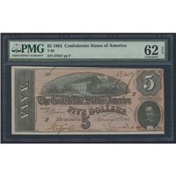 1864 $5 Five Dollars Confederate States of America Richmond CSA Bank Note Bill (T-69) (PMG 62)(EPQ)