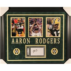Aaron Rodgers Signed Packers 23x27 Custom Framed Cut Display (PSA Encapsulated)