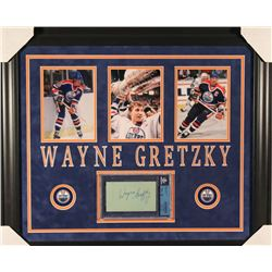 Wayne Gretzky Signed Oilers 23x27 Custom Framed Cut Display (Beckett Encapsulated)
