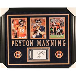Peyton Manning Signed Broncos 23x27 Custom Framed Cut Display (PSA Encapsulated)