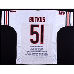 Dick Butkus Signed Bears Career Highlight Stat Jersey (JSA COA)