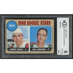 1968 Topps #247 Rookie Stars Johnny Bench RC / Ron Tompkins (BCCG 9)