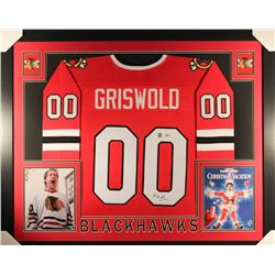 "Chevy Chase Signed Griswold Blackhawks 35"" x 43"" Custom Framed Jersey (Beckett COA  Chase Hologram)"