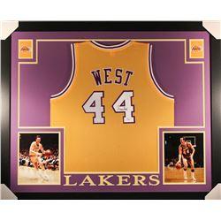 Jerry West Signed Lakers 35x43 Custom Framed Jersey (JSA COA)