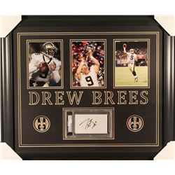 Drew Brees Signed Saints 23x27 Custom Framed Cut Display (PSA Encapsulated)