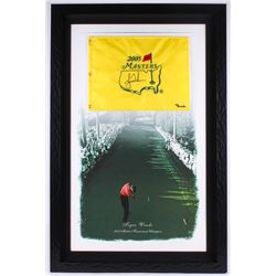 Tiger Woods Signed 2005 Masters 30.5x46.5 Custom Framed Limited Edition Pin Flag on Canvas #446/500