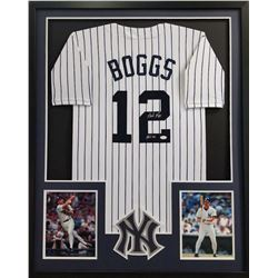 "Wade Boggs Signed Yankees 34x42 Custom Framed Jersey Inscribed ""HOF 05"" (JSA COA)"
