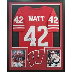T.J. Watt Signed Steelers 34x42 Custom Framed Jersey (Watt Hologram)