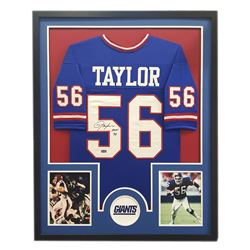 "Lawrence Taylor Signed Giants 34"" x 42"" Custom Framed Jersey Inscribed ""HOF 99"" (Radtke COA)"