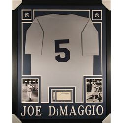 Joe DiMaggio Signed Yankees 35x43 Custom Framed Display with Jersey  Signed Index Card (PSA Encapsul