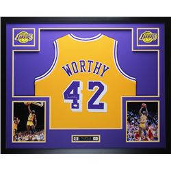 "James Worthy Signed Lakers 35"" x 43"" Custom Framed Jersey (JSA COA)"