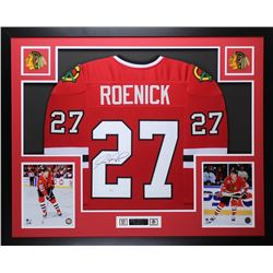"Jeremy Roenick Signed Blackhawks 35"" x 43"" Custom Framed Jersey (JSA COA)"