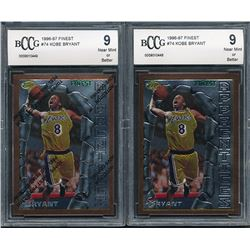 Lot of (2) 1996-97 Finest #74 Kobe Bryant B RC (BCCG 9)