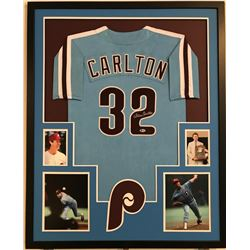 Steve Carlton Signed Phillies 34  x 42  Custom Framed Jersey (Beckett COA)