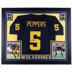 Jabrill Peppers Signed Michigan Wolverines 35  x 43  Custom Framed Jersey (JSA COA)
