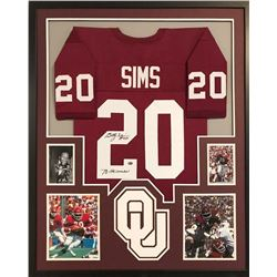 "Billy Sims Signed Oklahoma Sooners 34x42 Custom Framed Jersey Inscribed ""78 Heisman"" (GTSM COA)"