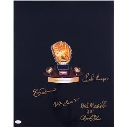 Gold Glove Award 16x20 Photo Signed by (5) with Eric Davis, Amos Otis, Dal Maxvill, Cecil Cooper  Mi