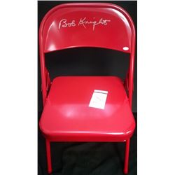 Bobby Knight Signed Red Metal Folding Chair (JSA COA)