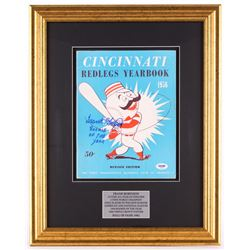 "Frank Robinson Signed 16x20 Custom Framed 1956 Reds Year Book Display Inscribed ""Rookie of the Year"""