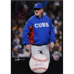 "Lot of (2) Joe Maddon Signed Items with (1) OML Baseball  (1) 8x10 Photo Inscribed ""MOY'15"" (Schwart"