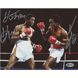 "Sugar Ray Leonard  Tommy ""Hitman"" Hearns Signed 8x10 Photo (Beckett COA)"